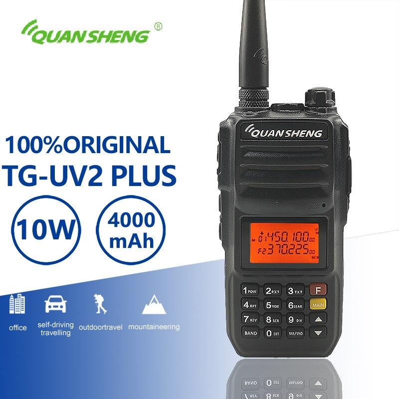 QuanSheng TG-UV2 плюс 10 Вт Long Range Talkie Walkie км 4000 мАч УКВ Dual Band длительным временем ожидания двухстороннее радио Амадор трансивер