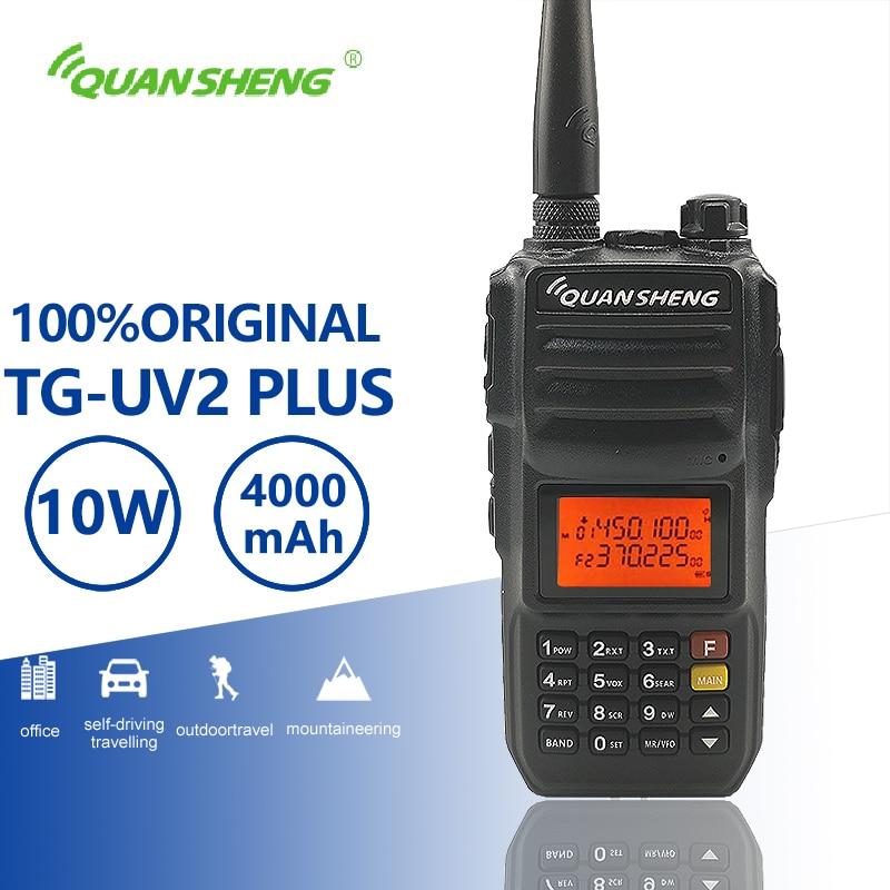 QuanSheng TG-UV2 Plus 10 W Lange Palette Talkie Walkie 10 KM 4000 mAh Vhf Uhf Dual Band Lange Standby Zwei weg Radio Amador Transceiver