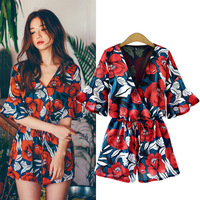 2018 Fashion New Shorts Rompers Womens Jumpsuits Summer Ladies Sexy V Neck Loose Short Sleeve Chiffon Polyester Casual Jumpsuit