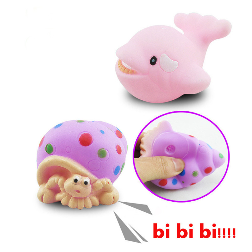 4 Pcs Random Color Dabbling Toys Rubber Animals Images Squeak Toys Baby Bathing Shower Party Toys suit for tub or pool JE21#F