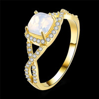 Top Quality Fashion Jewelry Women Men Yellow Gold Filled Square Opal Zircon Rings Engagement / Wedding Ring