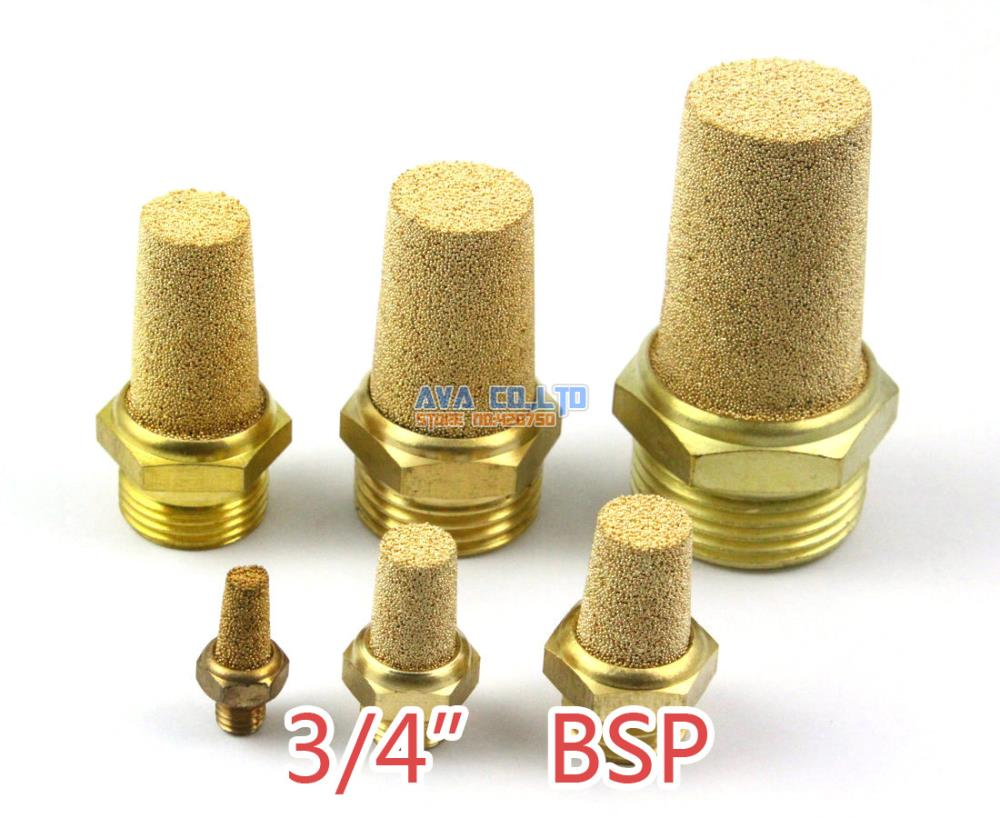 5 Pieces 3/4 BSP Pneumatic Brass Silencer Connector Noise Reduce Air Valve Muffler Fitting 4 pcs pneumatic air hose fitting 10mm brass straight barb connector adapter