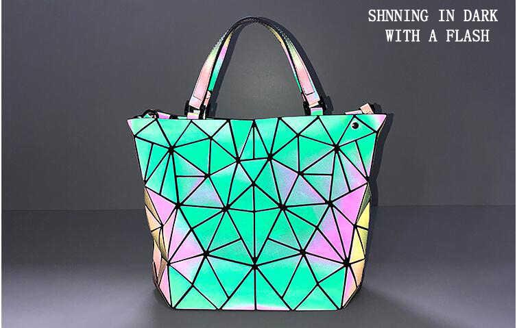 ebad647f6898 ... Maelove HOT Fashion Women Luminous Bag Diamond Tote Geometry Quilted  Shoulder Bags Laser Plain Folding Handbags ...