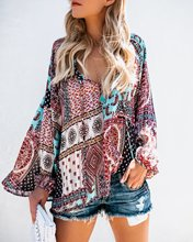 S-XL autumn winter v neck long sleeve chiffon tops t shirt casual leisure brand floral print street style t shirt