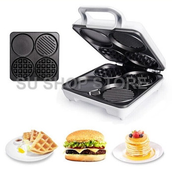 Multi-Functional Waffle Maker breakfast Machine Four-Hole Muffin Machine Egg Frying Pan Pancake Machine air frying pan new special price large capacity intelligent oil smoke free fries machine automatic electric frying pan 220v 3l