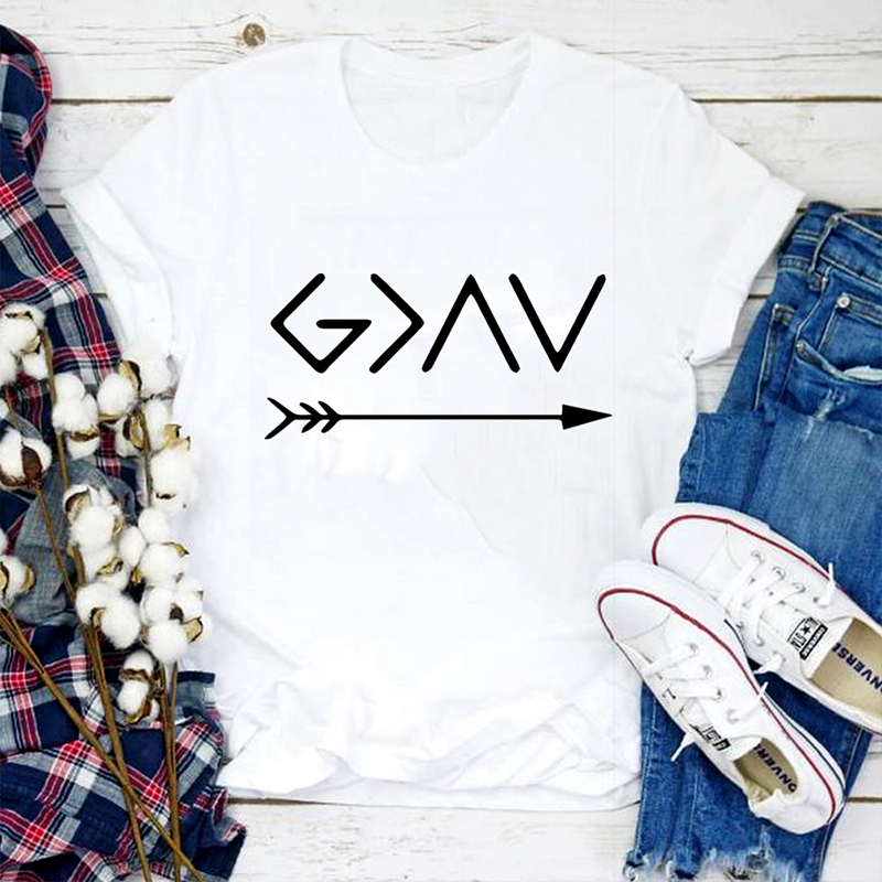 God Is Greater Than The High Lows Harajuku T Shirt Christian Faith Summer slogan Hipster Christian baptism cotton casual tee top