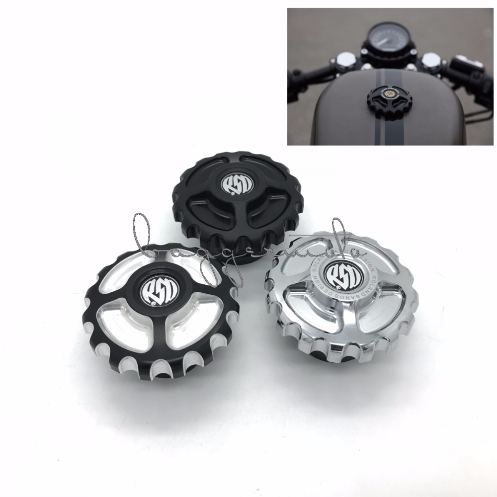 RSD Motorcycle Parts CNC Aluminum Fuel Gas Tank Cap For Harley Sportster XL883 XL1200 48 Dyna Touring Softail Black/Chrome derby deckel rsd