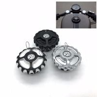 RSD Motorcycle Parts CNC Aluminum Fuel Gas Tank Cap For Harley Sportster XL883 XL1200 48 Dyna Touring Softail Black/Chrome