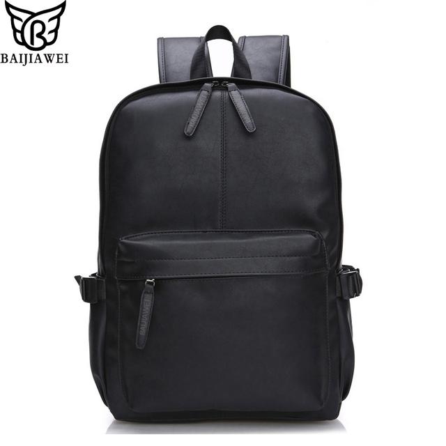 Baijiawei 2017 nova mochila de couro de cera de petróleo para os homens mochilas de viagem mochila escolar mochila de couro estilo ocidental do projeto zip