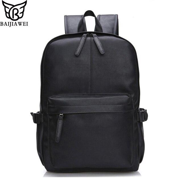 Baijiawei 2017 nueva cera de aceite de cuero mochila para hombres viajan mochilas morral de la escuela de diseño de estilo occidental de cuero zip