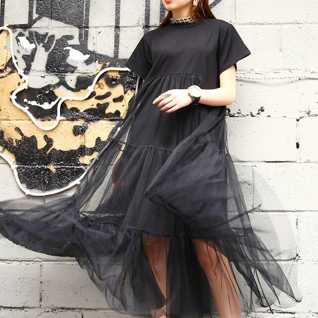 [Gutu] أزياء الصيف الجديدة 2017 حجم كبير أسود خياطة صافي الغزل جولة طوق قصير كم حجم كبير فضفاض ثوب المرأة 3361.5XL