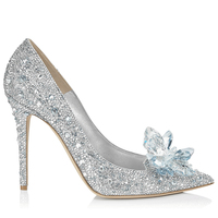 Hong Kong Cinderella's crystal shoes bridal shoes ladies nightclub pointed shoes white diamond flash thin heel shoes
