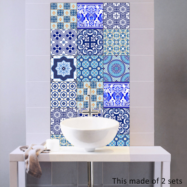 Bathroom Blue And White Porcelain Tile Stickers Decals Home - Blue-bathroom-tile-stickers