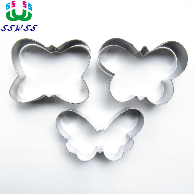 Tre Big Butterfly Shape Cake Cookie Biscuit Bage Molds, Insect Cake Decorating Fondant Cutters Værktøj, Direkte Selling
