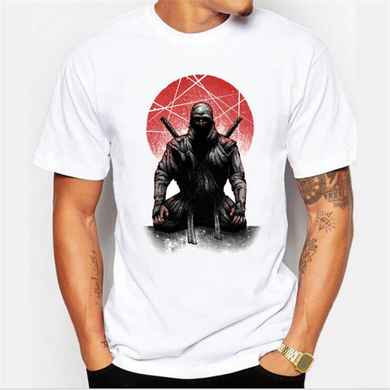 Hot mens masked Warrior pattern printed wild short sleeve round neck white T-shirt