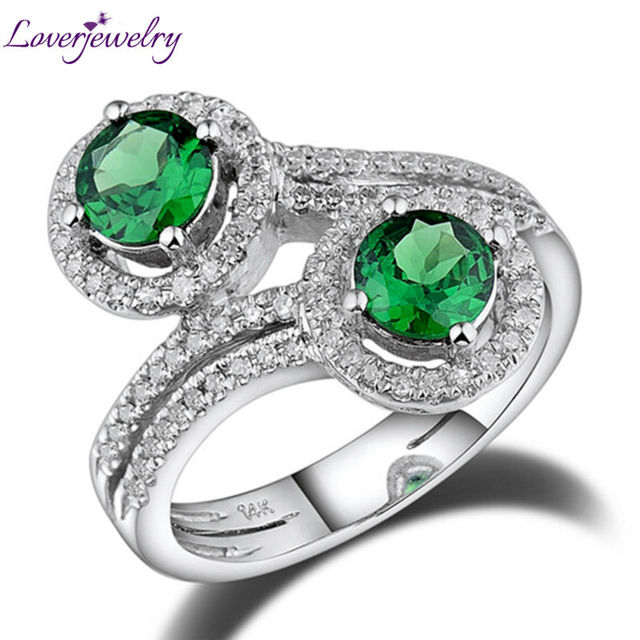 Anillo de diamante verde