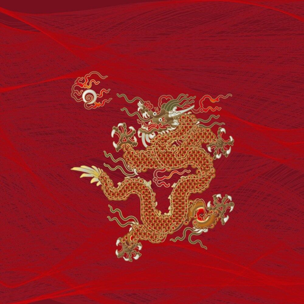 Marca de fuente de lino Real 4 piezas por juego de dragón dorado sobre hermoso fondo rojo juego de ropa de cama 3d cama 3d cubierta con sábana de cama - 5