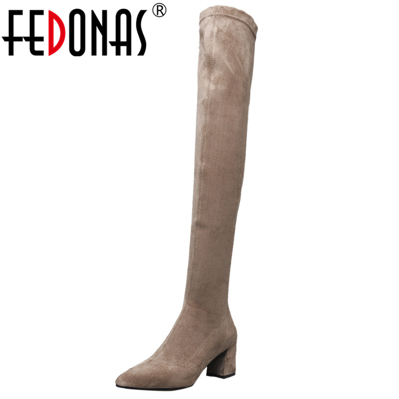 FEDONAS Over The Knee High Boots Women High Heels Pointed Toe Party Shoes Woman Tight High