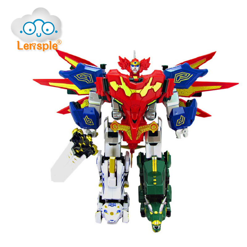 Lensple 5 in1 Assembly Oversize Transformation Power Ranger Robot Action Figures Birthday Gifts For Kids thinkeasy 8 pcs set puzzle transformation star wars space cars prime bruticus action figures block toys for kids birthday gifts