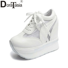 DoraTasia Air Mesh Women Pumps Vintage Lace Up Increased Internal Wedge Platform Shoes For Woman 2017