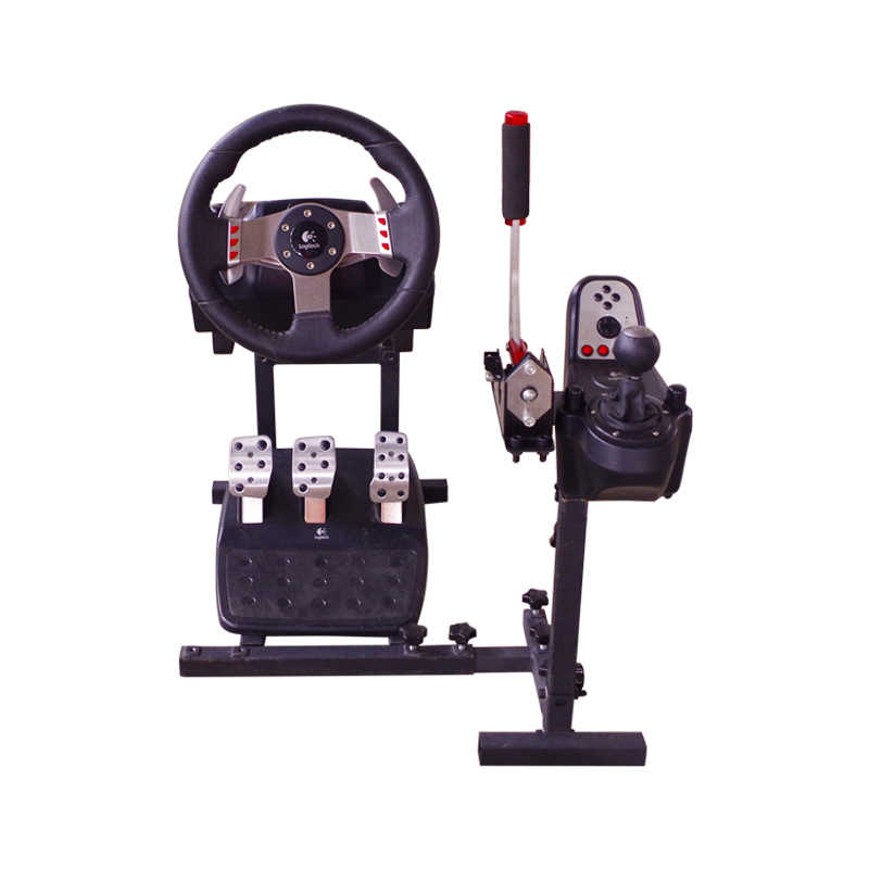 Racing Steering Wheel Stand for PC USB Handbrake and Logitech G25/G27/G29  and G920 Wheel Pedals and Handbrake Not Included GH102