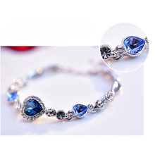 DLSHTMB Fashion Jewelry Charm Bracelets & Bangles Heart-shaped Crystal Bracelet White Gold Plated Chain Link Bracelet Women Gift