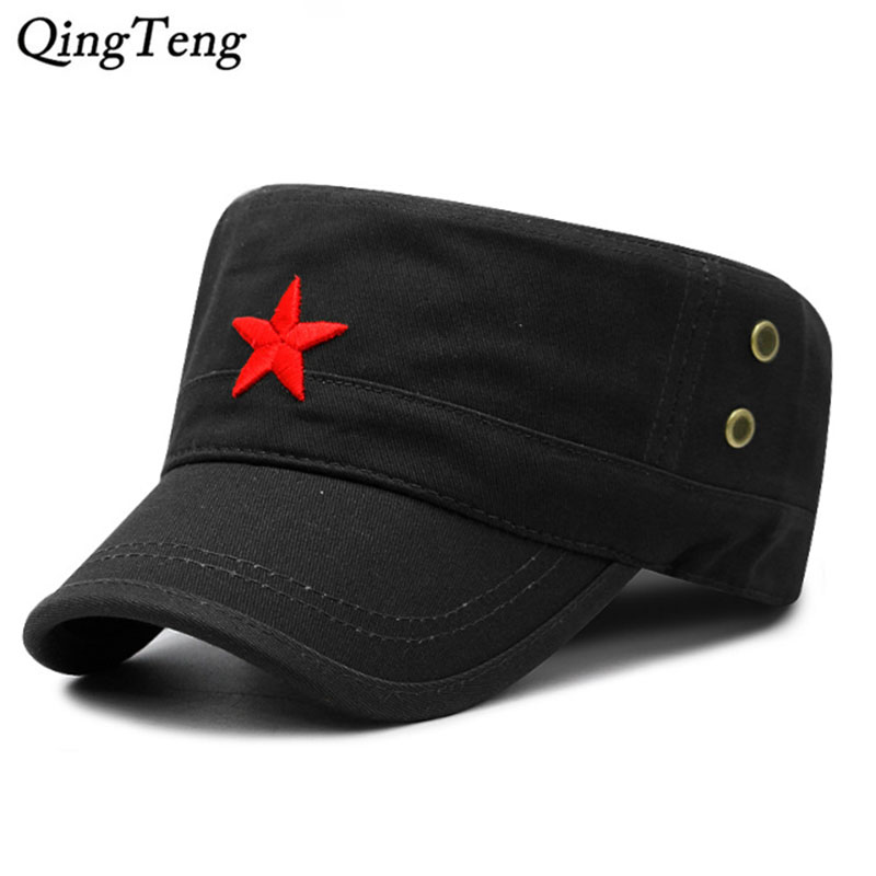 723d9fc2e37 Fashion Military Cap Red Star Embroidered Flat Hats Army Cap Outdoor Sun  Casual Sports Tactical Caps