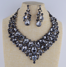statement black Necklace earrings set rhinestone grey gun metal plated  jewelry sets for party dress accessories
