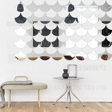 9pcs Mirror Wall Stickers Sticker Room Decoration Decorative Vinyl Home Decor Kids Ginkgo Leaf Geometry Simple Shape Tiles R198