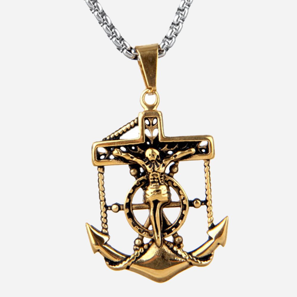 Vintage Jewelry Anchor Pendant Necklaces Anchor Charm Cross Pendant Jesus Cross Necklaces Nautical Jewelry Jesus Piece Pendant