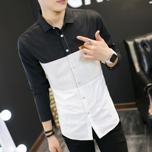 2017 spring men's casual shirt long sleeves, fashion slim good quality splicing shirt shirt men's style,Young man big size shirt