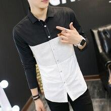 2017 spring men s casual shirt long sleeves fashion slim good quality splicing shirt shirt men