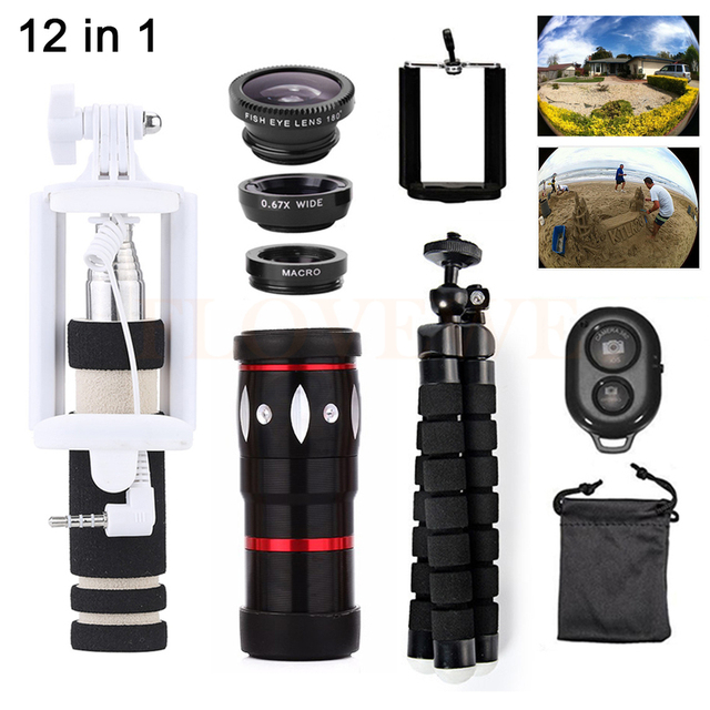 12in1 Phone Lens Kit 10X Zoom Telephoto Lenses With Tripod Clips Fish eye Wide Angle Macro Lens Telescope For iPhone Xiaomi HTC