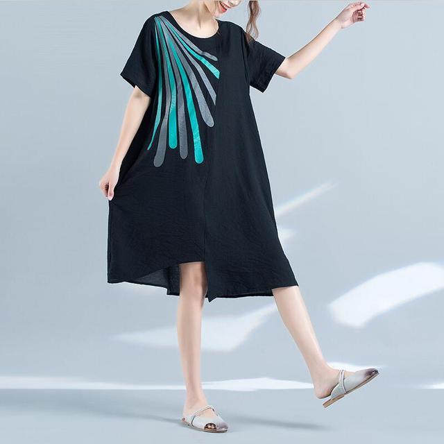 2017 Summer Vestidos Women Vintage Print Cotton Linen Dress Casual Loose O Neck brand long Dress Plus Size black dress