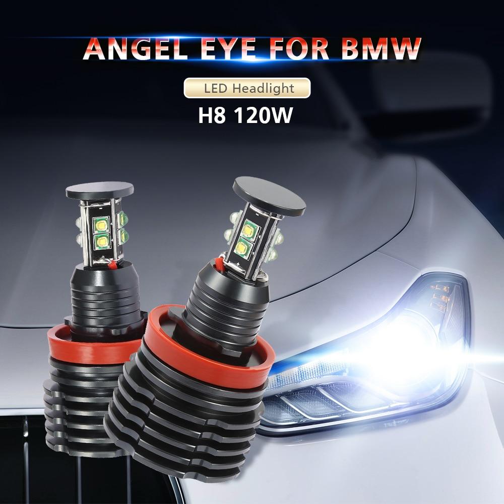 Fog Lights Headlight H8 Can bus Error Free 120W LED Angel Eye for BMW Marker Lights Bulbs For BMW E60 E61 E71 E70 LCI E90 E91 X5