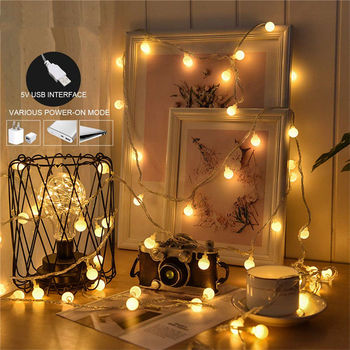 Holiday Lamp string USB 3M 5M 10M Fairy Garland Ball LED String Light Fairy String Decorative Light For Christmas Wedding Party 5m 20led 10m 35led big ball string light indoor outdoor decorative fairy lighting for christmas trees patio party