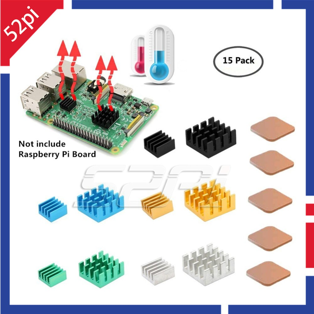 52Pi New! 5 Sets/15 Pcs Aluminum Copper Heat Sinks Black/Blue/Yellow/Green/Sliver Cooling Sinks For Raspberry Pi 2/3 Model B/B+