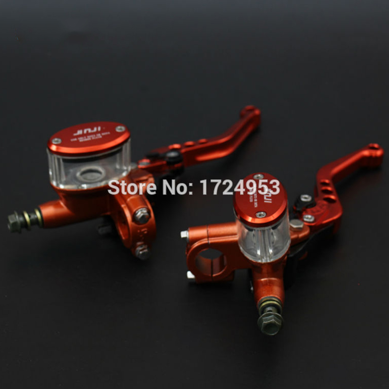 CNC 5 adjuster lever M10 oil hose Orange Front Brake Master Cylinder Pump Lever for Electric motorcycle scooter free shipping motorcycle moped scooter cnc brake lever front