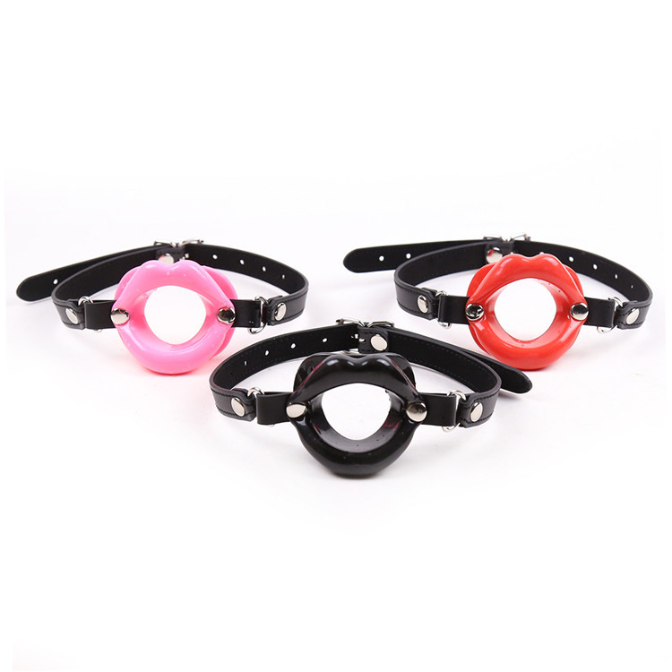 Buy BDSM Sex Fetish Leather Rubber Lips O Ring Open Mouth Gag Bondage Strapon Mouth Gag Erotic Restraints Adult Sex Toys Couples
