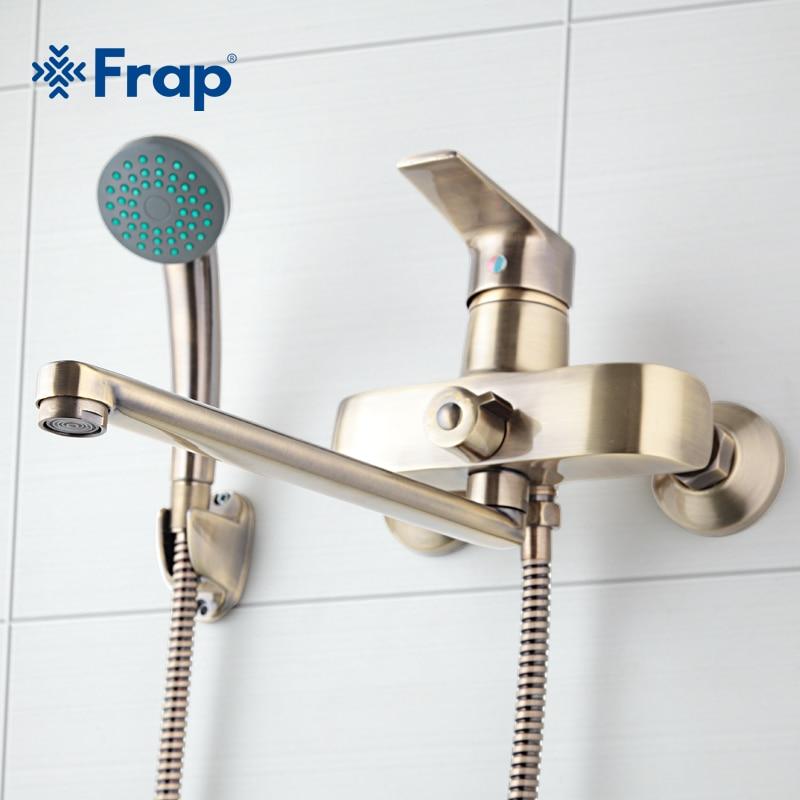 Frap бронзовый цвет Настенные Латунь Ванная комната кран Для ванной Ванна смеситель с ручным Насадки для душа душ краны f2230-4