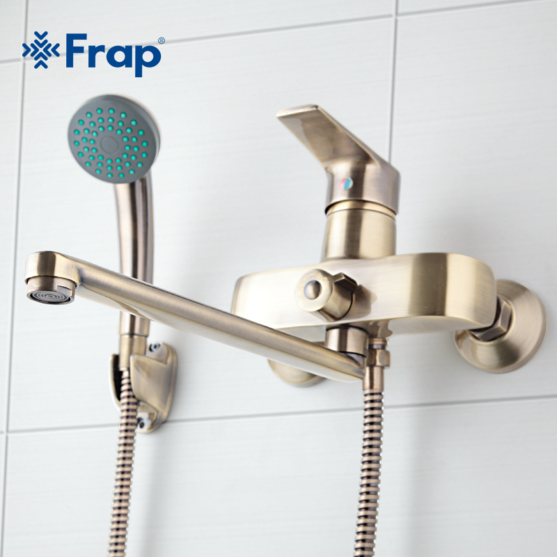 Frap Bronze color Wall Mounted Brass Bathroom Faucet Bath Tub Mixer  With Hand Shower Head Shower Taps F2230-4 mojue thermostatic mixer shower chrome design bathroom tub mixer sink faucet wall mounted brassthermostat faucet mj8246
