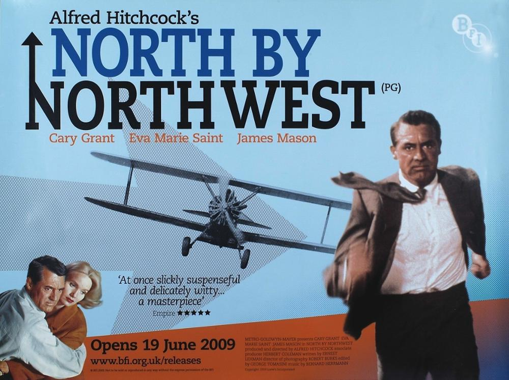 N0669 NORTH BY NORTHWEST Movie 1959 Alfred Hitchcock Cary Grant Wall Sticker Silk Fabric Poster Art Indoor Decor Bright image