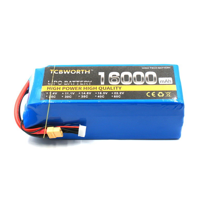 RC Lipo Battery 6S 22.2V 16000mAh 25C for RC Airplane Drone Helicopter Car Tank Batteria AKKU mos 6s rc lipo battery 22 2v 25c 16000mah for rc aircraft car drones boat helicopter quadcopter airplane li polymer 6s akku