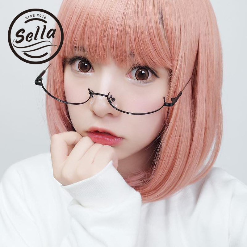 Sella New Arrival Unique Harajuku Eyewear Rimless Oval Alloy Frame Glasses Metal Half Frame No Lens Small Narrow Eye Glasses