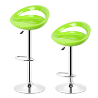HOT SALE 2pcs Pair Adjustable Gas Lift Bar Stools ABS Plastic Seat Green Modern Living Room