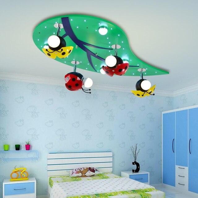US $195.0  Kreative kinderzimmer LED deckenleuchten jungen und mädchen baby  zimmer lichter lampe schlafzimmer decke marienkäfer blätter ZA621 ZL210 in  ...