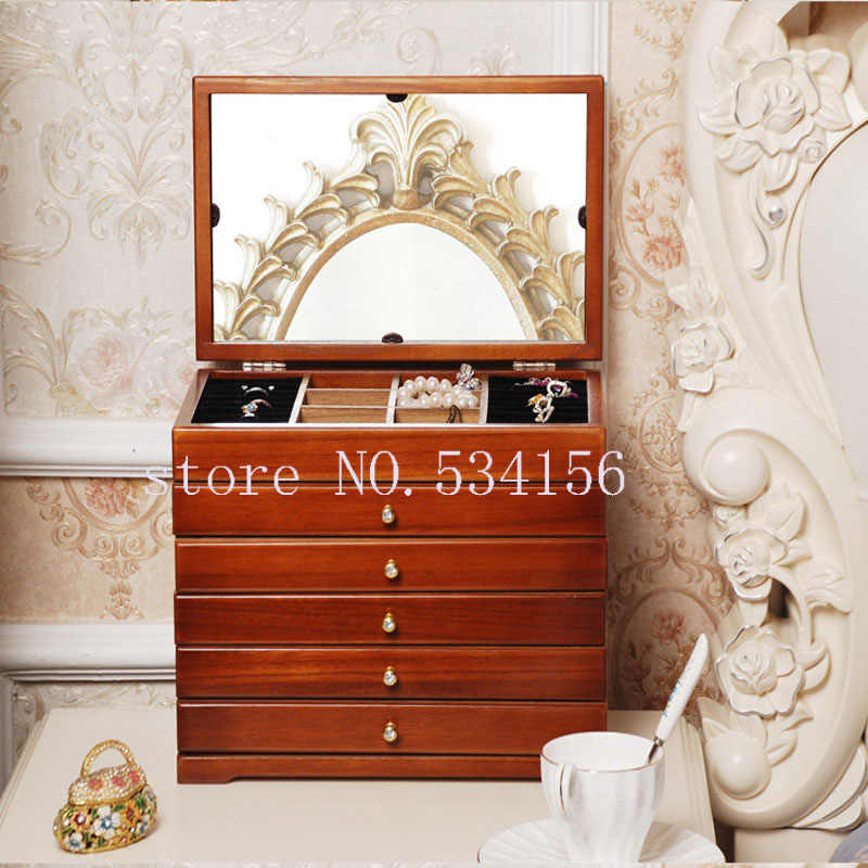 Versión mejorada con caja de madera espejo para joyas caja de almacenamiento caja de muestra de regalos joyería Lagre caja de regalo cofre de envase caja de regalo