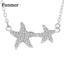 Funmor Casual Starfish Full Zircon Necklace Real 925 Sterling Silver Fine Jewelry For Women Girls Routine Gathering Accessories
