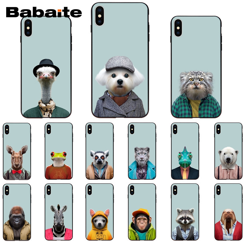 Babaite Animal portrait elephant owl tiger panther <font><b>PhoneCase</b></font> for iPhoneX XSMAX 6 6s 7 <font><b>7plus</b></font> 8 8Plus 5S SE XR 11 11pro 11promax image
