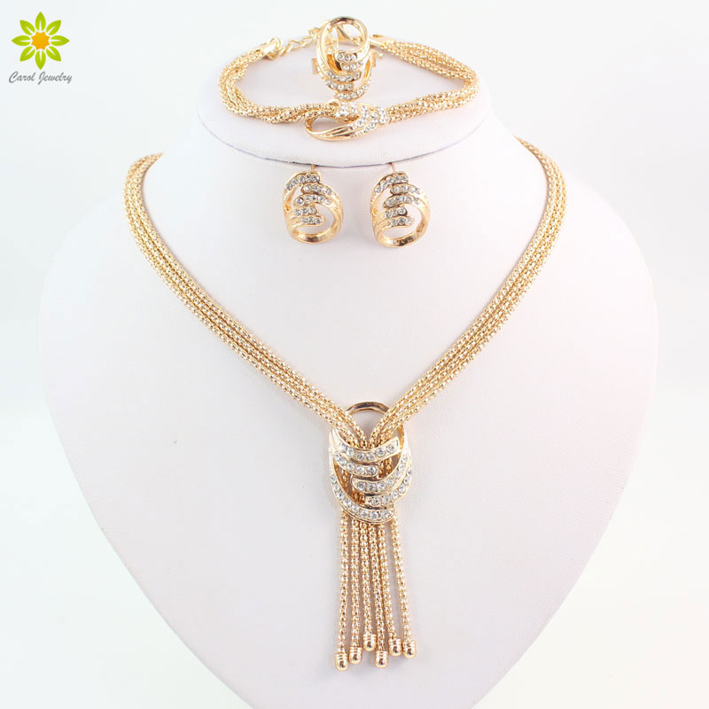 African Beads Jewelry Sets Wedding Costume Women Gold Color